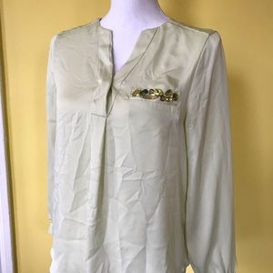 Size 4 small/medium Light green button up blouse